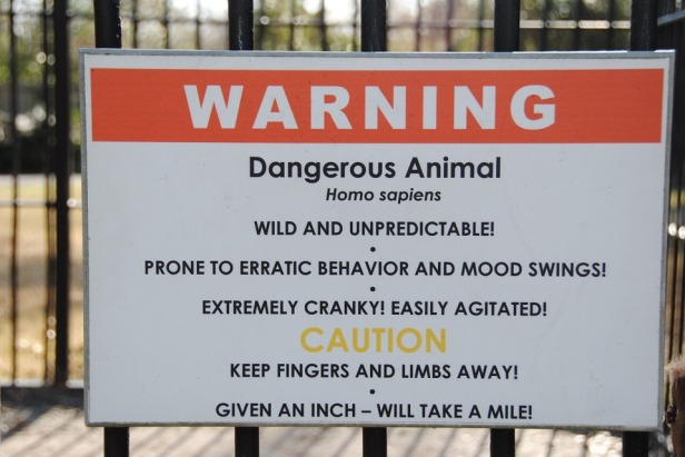 Homo Sapiens Zoo Warning Sign Cage